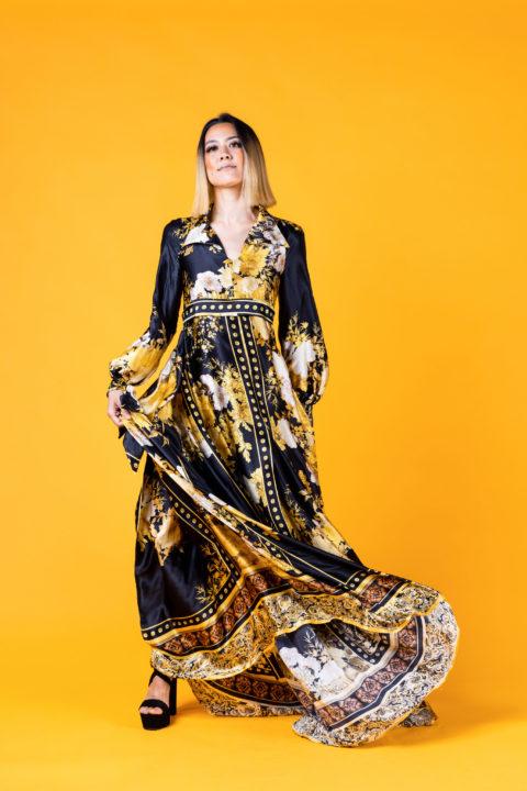 Black and orange Indigenous designed dress