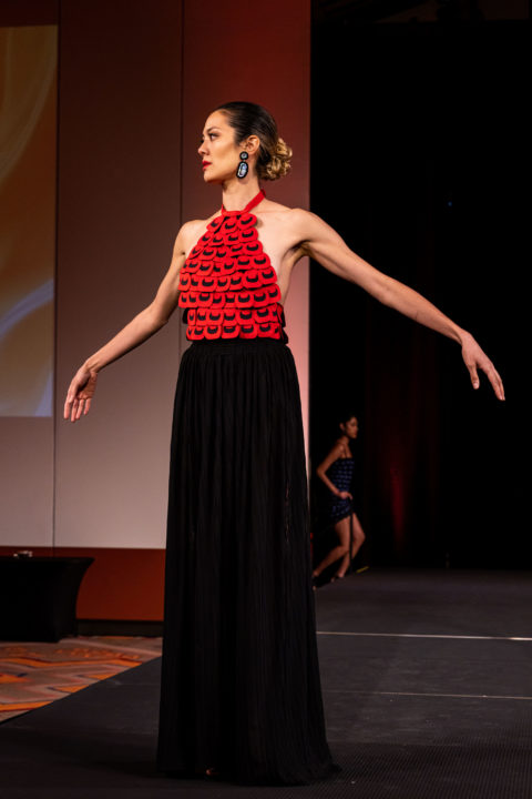 Orange dress Yolonda Skelton