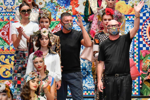 Domenico Dolce and Stefano Gabbana at runway show finale