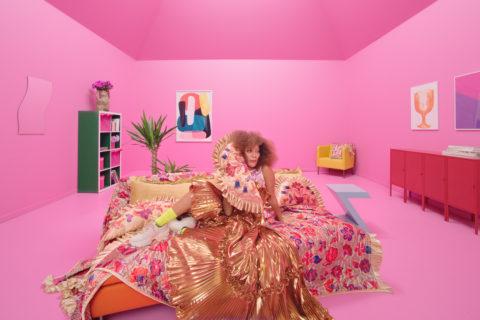IKEA x Zandra Rhodes pink bedspread