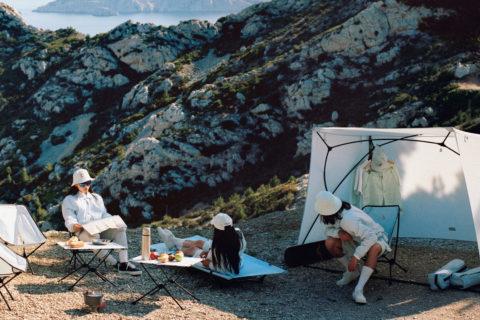 stylish outdoor gear maison Kitsuné helinox