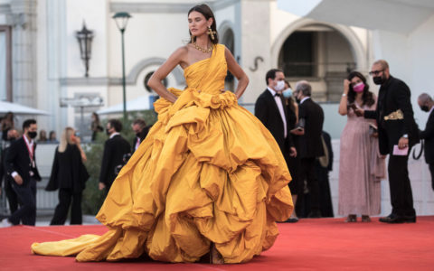Bianca Balti in yellow on the Venice Film Festival Red Carpet
