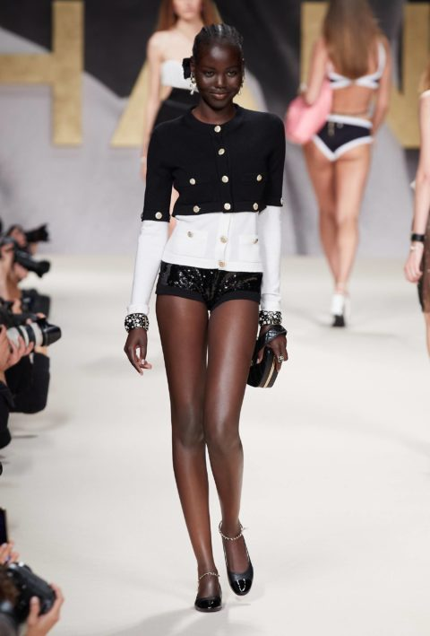 Chanel runway model black and white