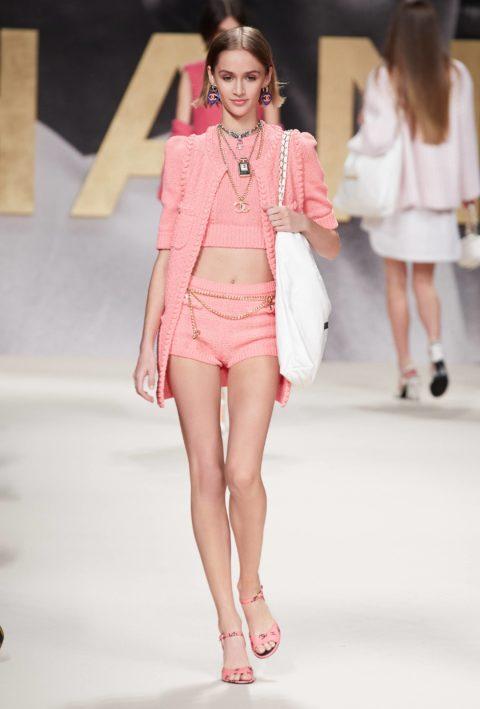Chanel runway model pink