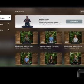 Apple Fitness+ meditation TV screen
