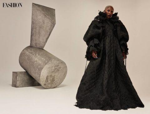 Cynthia Erivo black coat