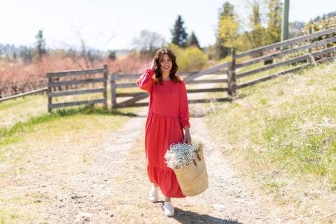 Jillian Harris and Joe Fresh red dress